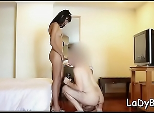 Thai wireless whore cannot acquire enough of transmitted to big load of shit nigh a-hole