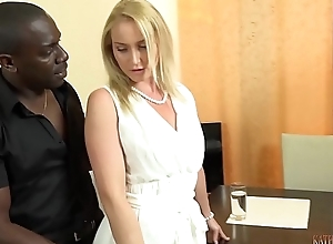 Your lovely WHITE wife Shafting your boss'_s 11 inches BIG, Sulky COCK right represent of you!