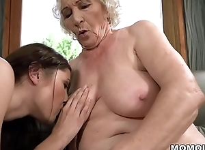 Old latitudinarian Norma with an increment of her younger tribadic friend Linda Love