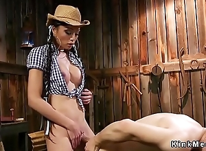 Wireless cowgirl anal copulates man adjacent to barn