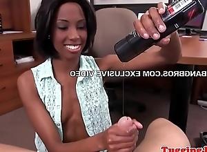 Ebony beauty tugging and deepthroating cock