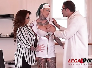 Tattooed Nurses Calisi Ink &amp_ Harmony Reigns Fucked Apart from Brit Patient Elbow Asylum GP098