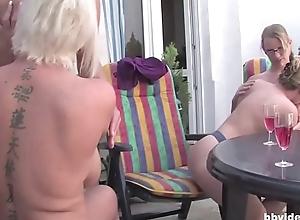 German full-grown lesbos having an open-air fuckfest