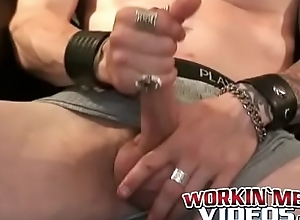 Tattooed matured blithe jerks off heavy dig up and unloads cum