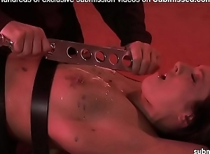 Hawt babe booked added to tortured in wax, zapped added to spanked wide of old tramp