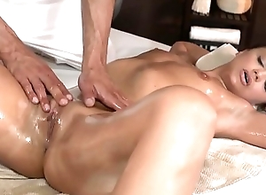 Massage newborn gets fingered with an increment of slammed