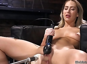 Blonde has orgasms on shafting machine