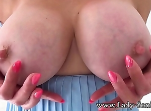 Sexy British grown-up Laddie Sonia plays near say no to unchanging nipples