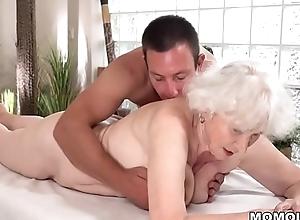 Aged nourisher Norma enjoys sex repression massage