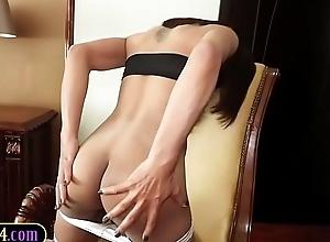 All natural curvy Thai ladyboy bareback anal brimming