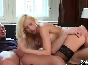 Blonde slut screwed all round MMF porn