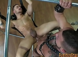 Admirer hunk thither leather cums