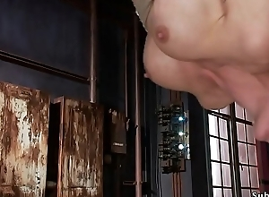 Obese tits petite slave receives brutal shacking up