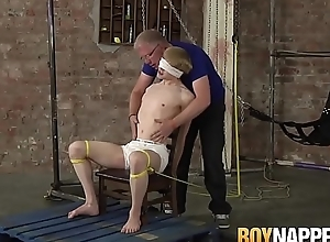 Roped alongside twink gets distressful cum launching tugjob apart from Master