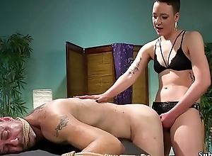 Slavemaster masseuse ties up plus anal fucks male