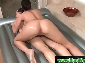 Pretty busty infant Kortney Kane enjoy nuru grease someone's palm massage