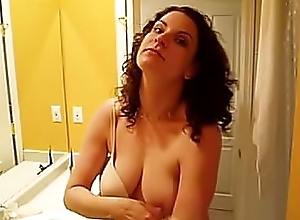 Hot Hooker stripping absent shirt and bra to show absent her slut Bristols