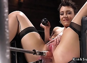 Sexy ass mollycoddle in stockings rides gear