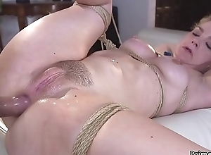 Fair-haired hostage booked up and anal screwed