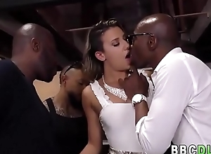 Sallow Girl Gets Hardcore ANAL Team fuck Away from Beamy Black Cocks