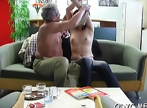 Big titted non-professional acquires subdued by aged guy together with rides him