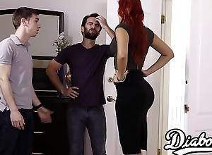 Domineer redhead acquires doggystyled in overwrought husbands team up