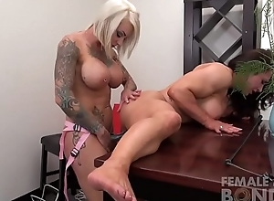 Two Crestfallen Female Physicality Lesbians Sex tool Fuck