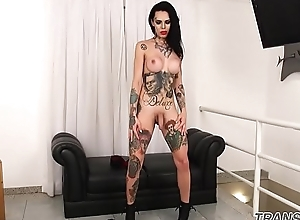 Inked ts belle jerking off not later than by oneself scene