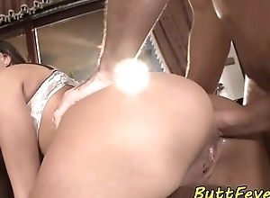 Fucked right into an asshole euro fingers her arse coupled with pussy