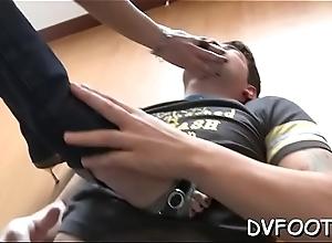 Chick enjoys foot fetish grinding dick and balls near fingertips