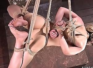 Gagged blonde more hogtie suspension