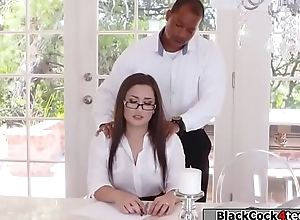 Black guy boss fucks Gabriellas juicy pain in the neck