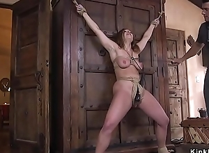 Well-endowed slave squirting during bonking