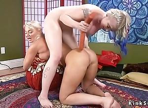 Blonde lesbian babes anal toying all round bondage